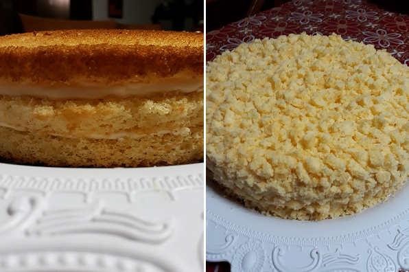 Decorazione Torta mimosa delicata con crema pasticcera e bagna al mandarino