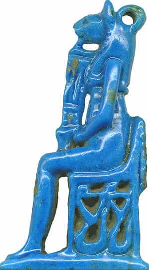Colore blu: Amuleto di Bastet blu egiziano
