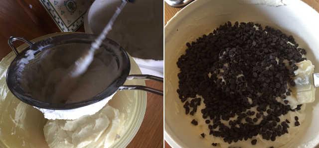 Crema di ricotta e gocce di cioccolato per Cassata siciliana senza glutine