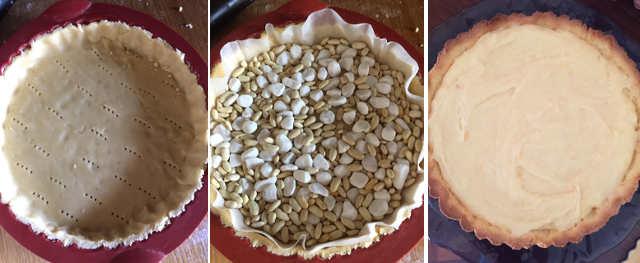 Preparazione Crostata alla frutta senza glutine con crema pasticcera e frutta fresca