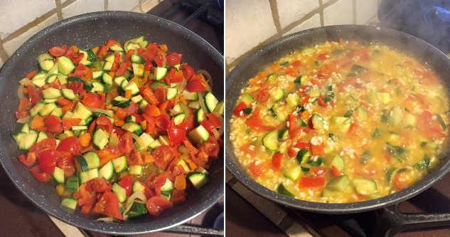 Preparazione Peperoni ripieni di riso e verdure al forno