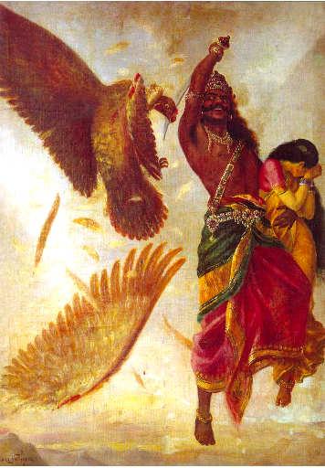Disegno Sita si volta per non nel vedere Ravaan tagliare l'ala dell'aquila Jathayu