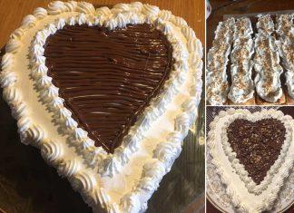 Torta cuore senza glutine con Nutella e panna