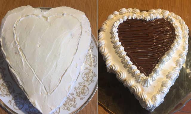 Decorazione Torta cuore senza glutine con Nutella e panna