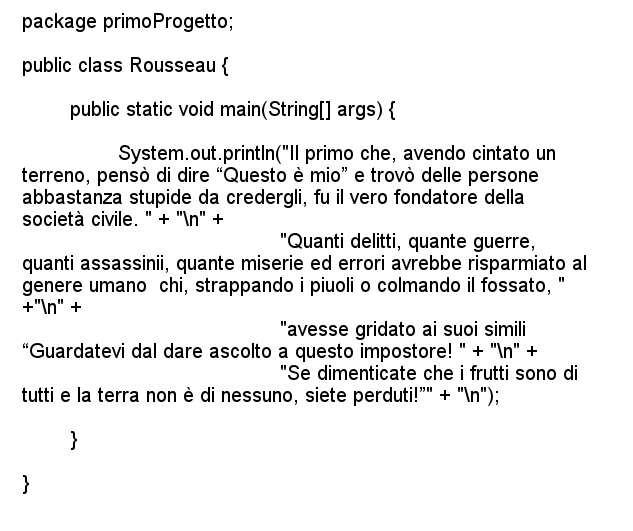 Linguaggio Java, codice di esempio.