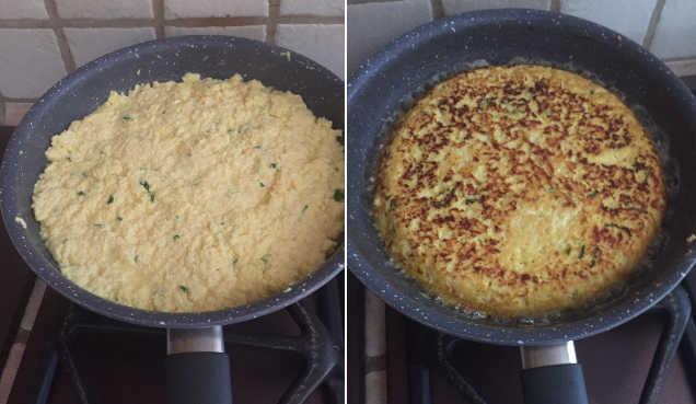 Preparazione della frittata di ricotta e pecorino romano