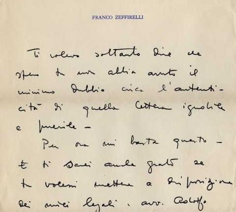 Analisi grafologica della  grafia di Franco Zeffirelli 2