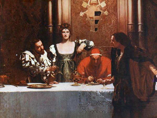 Lucrezia Borgia con il fratello Cesare e il Papa Alessandro VI