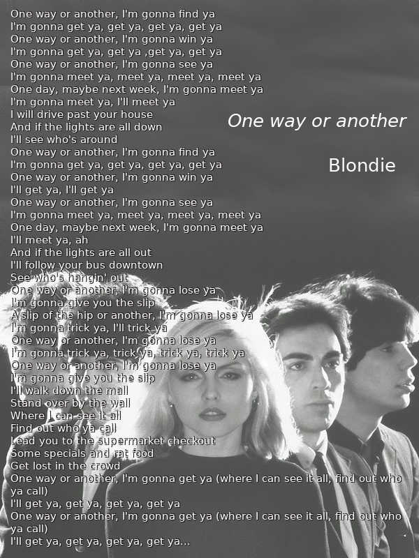 Il testo di One way or another dei Blondie