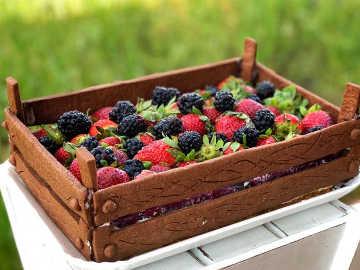 Cheesecake ai frutti di bosco in cassetta