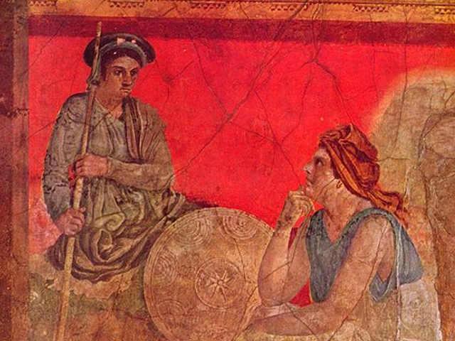 Il colore rosso in un Affresco a Pompei
