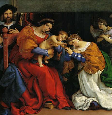 Matrimonio mistico di Santa Caterina d'Alessandria di Lorenzo Lotto, colore rosso