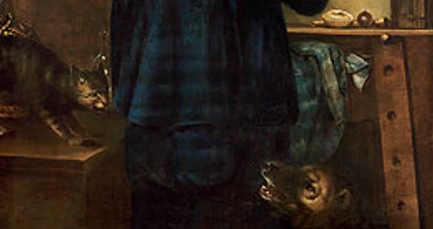 Particolare, il cane e il gatto nell'Autoritratto triplo di Johannes Gumpp