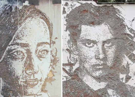 Scratching the Surface, particolari dei volti, Vhils