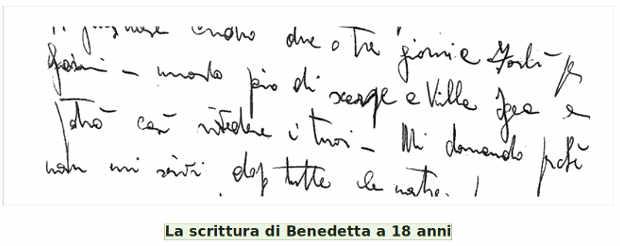 La grafia di Benedetta Bianchi Porro a 18 anni