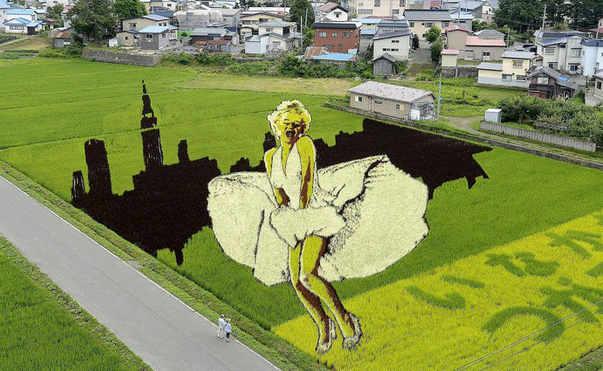 Marilyn con la gonna che si alza al passaggio della metropolitana, Arte Tanbo