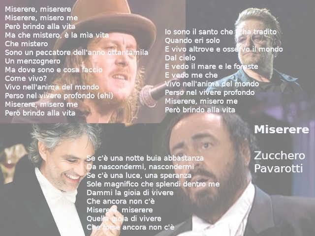 Testo di Miserere di Zucchero e Luciano Pavarotti