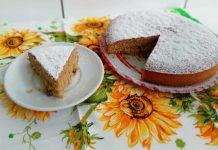 Torta soffice senza burro con zucchero di canna e uva passa
