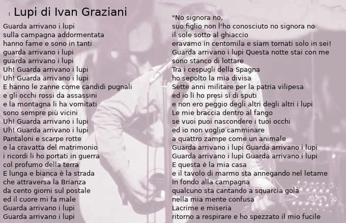 Testo I Lupi di Ivan Graziani