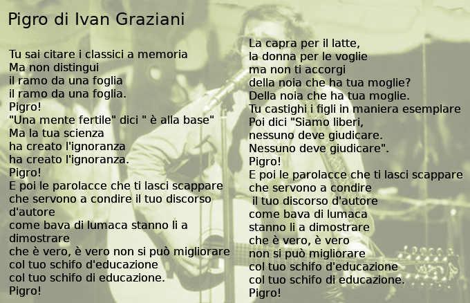 Testo di Pigro di Ivan Graziani