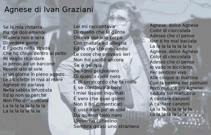 Testo Agnese di Ivan Graziani
