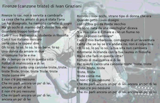 Testo Firenze (canzone triste) di Ivan Graziani