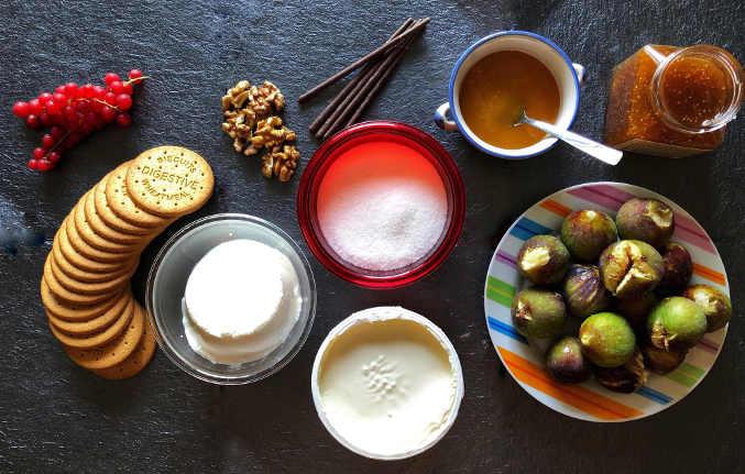 Ingredienti del Cheesecake con mascarpone e confettura di fichi senza cottura
