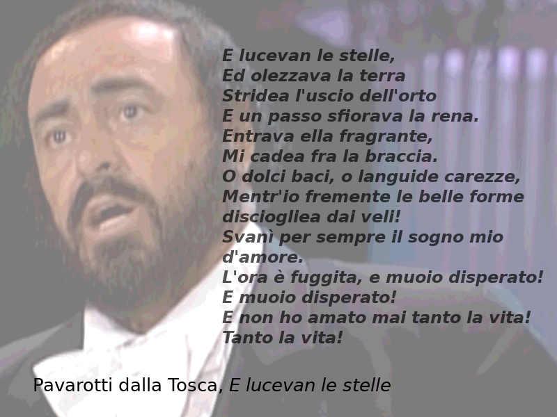 Testo di E lucevan le stelle dalla Tosca, Pavarotti
