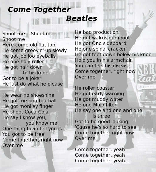 Testo di Come Together dei Beatles