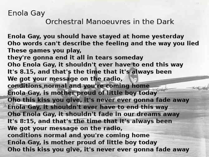 testo di Enola Gay degli Orchestral Manoeuvres in the Dark