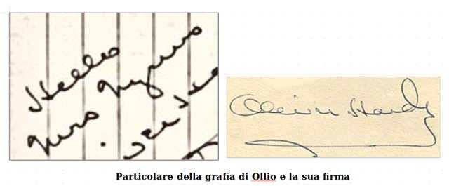 La grafia di Oliver Hardy (Ollio)