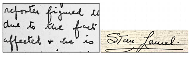 La grafia di Stan Laurel (Stanlio)