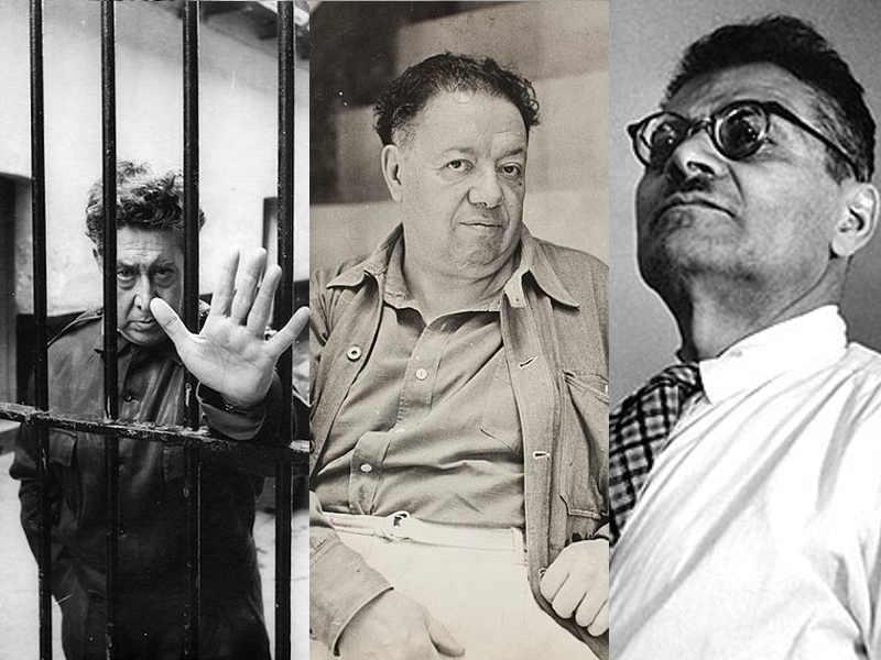 3 muralisti messicani: David Alfaro Siqueiros, Diego Rivera e José Clemente Orozco