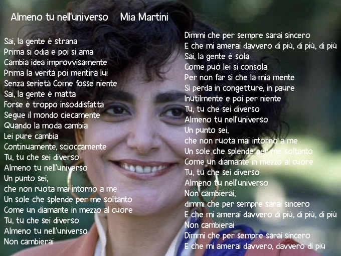 Testo Almeno tu nell'universo di Mia Martini