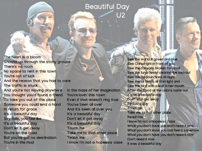 testo di Beautiful Day degli U2
