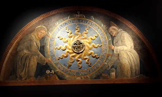 Il Trigramma di Cristo tra i santi Antonio da Padova e Bernardino