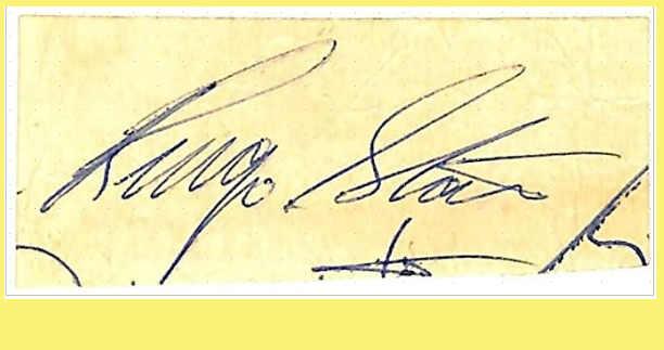 Le firme dei Beatles: l'autofrafo di Ringo Starr