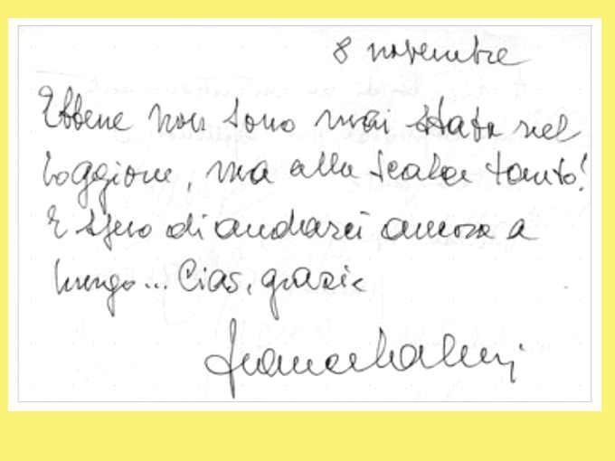 Campione della scrittura di Franca Valeri