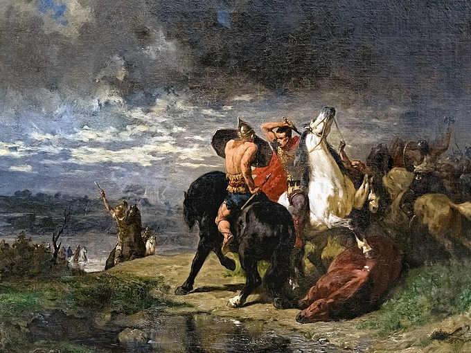 Scontro tra un cavaliere romano ed uno celta