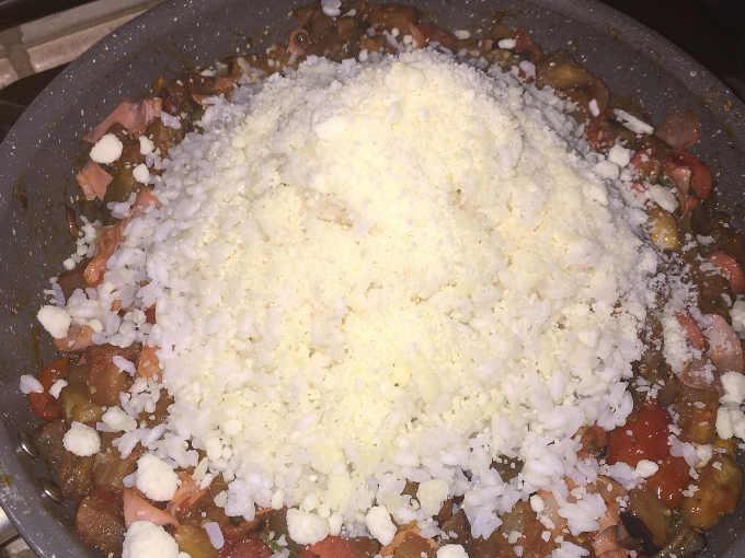 Ripieno completo per Melanzane al forno con riso e pomodori,