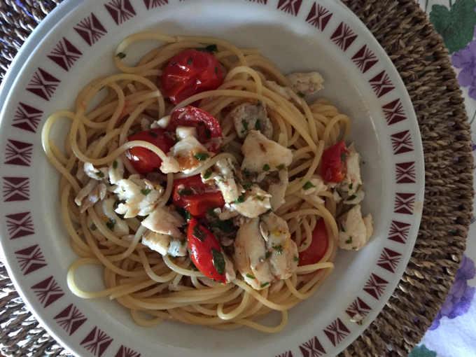 Gli Spaghetti con orata sfilettata e pomodorini