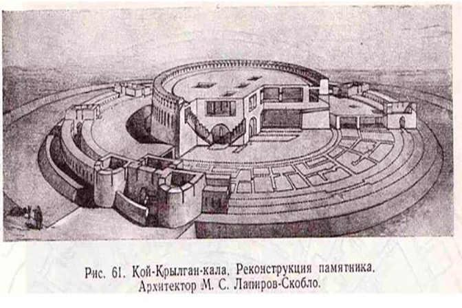 Disegno della fortezza di Koi Krylgan Kala nella Corasmia