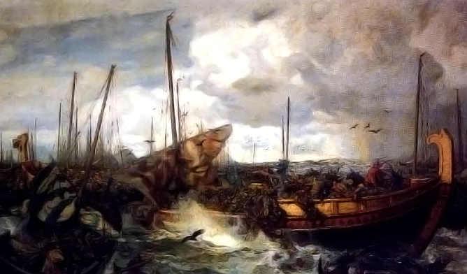 Dipinto di una battaglia di navi Vichinghe