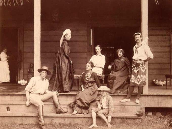 Robert Louis Stevenson con famiglia nella casa Vailima
