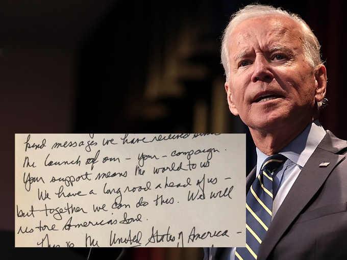 la scrittura di Joe Biden