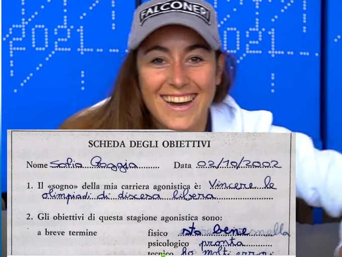 Scrittura di Sofia Goggia a 10 anni (campione di grafia)