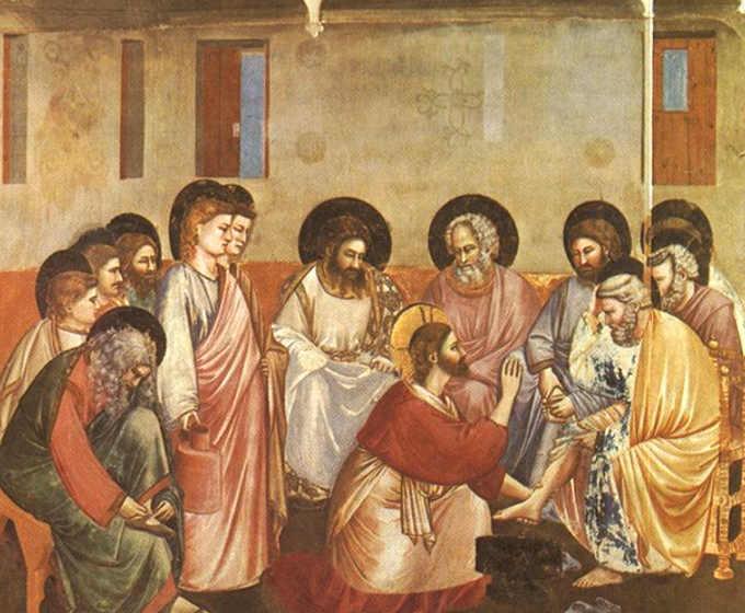 Gesù lava i piedi a Pietro, Giotto, Cappella degli Scrovegni, Padova