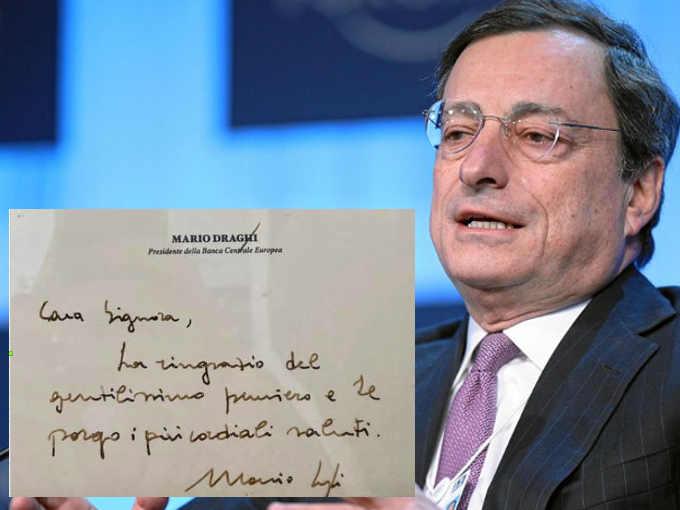 La grafia di Mario Draghi