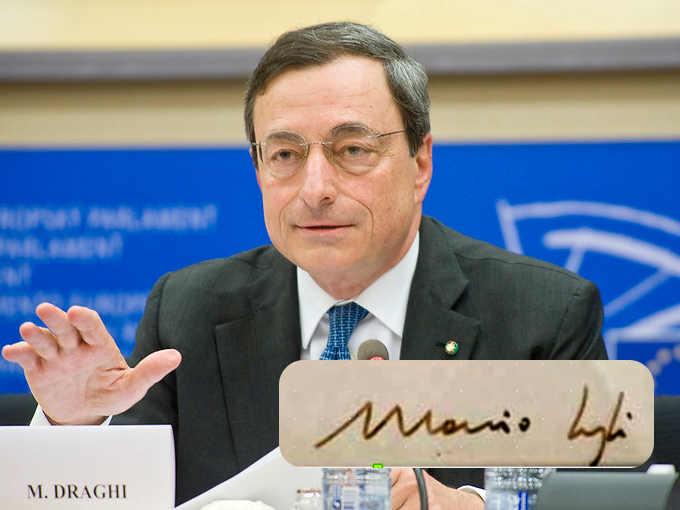 La grafia di Mario Draghi: la firma