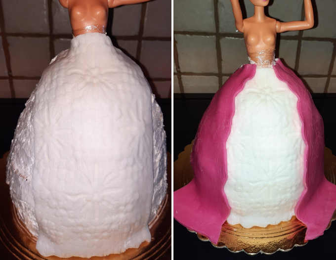 davanti bianco e laterali rosa in pasta di zucchero